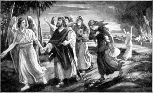 righteous Lot being led out of Sodom