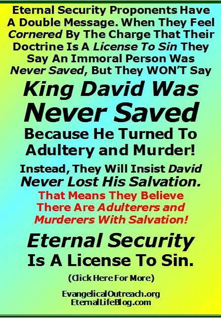 eternal security never saved david adultery murder