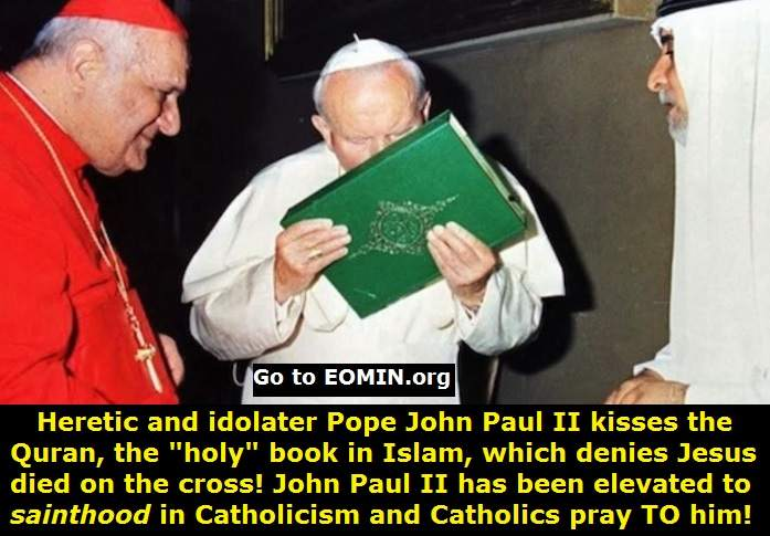pope john paul II kisses the quran