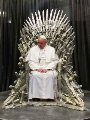 Pope Francis on throne of bones