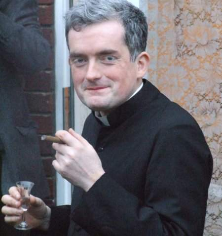 Priest Smoking and Drinking
