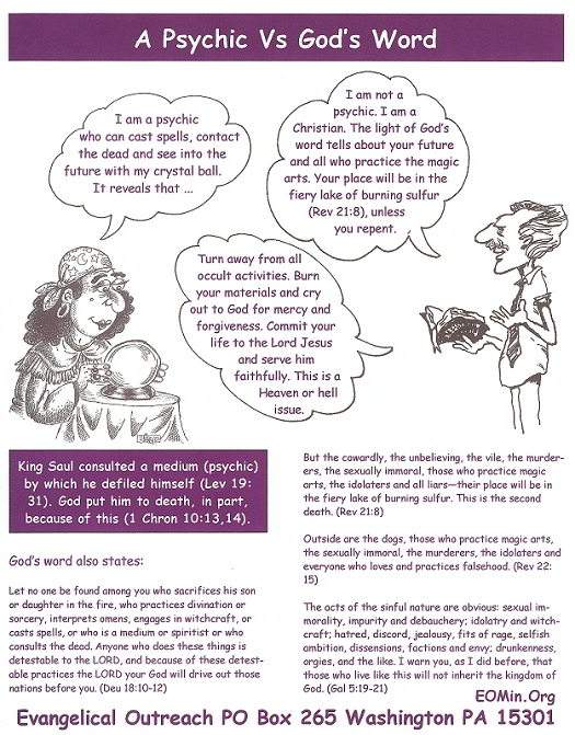 A Psychic Vs God's  Word cartoon (pdf)